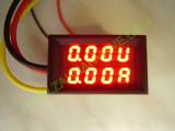 """VA метър 2x0.28""""/ червен-червен 5 проводника 0-200VDC/5A"""
