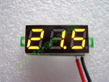 """0.28"""" Жълт 2.6-30V DC LED сегментен волтметър без панел с 2 проводника"""