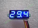"""0.28"""" Син 0-100V DC LED сегментен волтметър без панел с 3 проводника"""