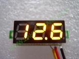 """0.28"""" Жълт 0-100V DC LED сегментен волтметър без панел с 3 проводника"""